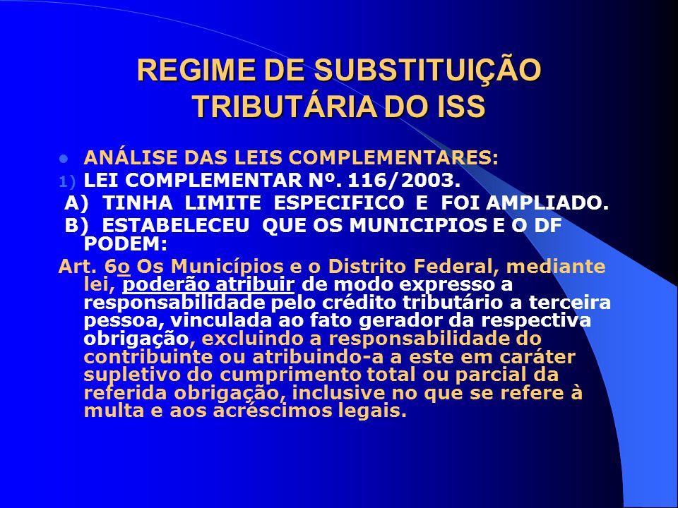 REGIME DE SUBSTITUIÇÃO TRIBUTÁRIA DO ISS