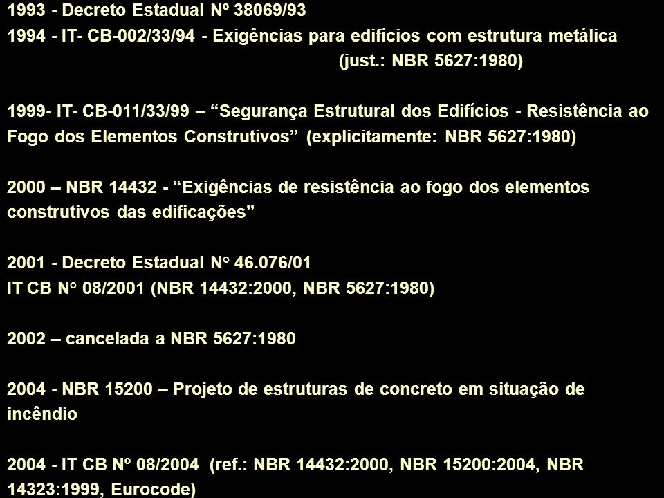 1993 - Decreto Estadual Nº 38069/93 1994 - IT- CB-002/33/94 - Exigências para edifícios com estrutura metálica (just.: NBR 5627:1980)