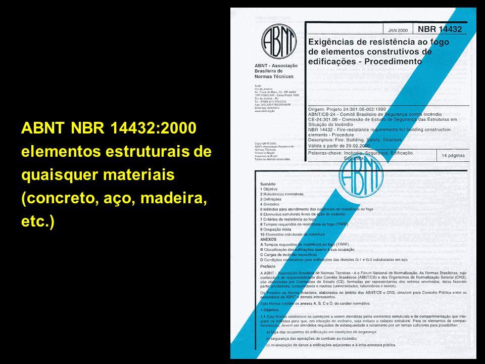 ABNT NBR 14432:2000 elementos estruturais de quaisquer materiais (concreto, aço, madeira, etc.)