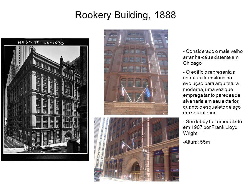 Rookery Building, 1888 Considerado o mais velho arranha-céu existente em Chicago.