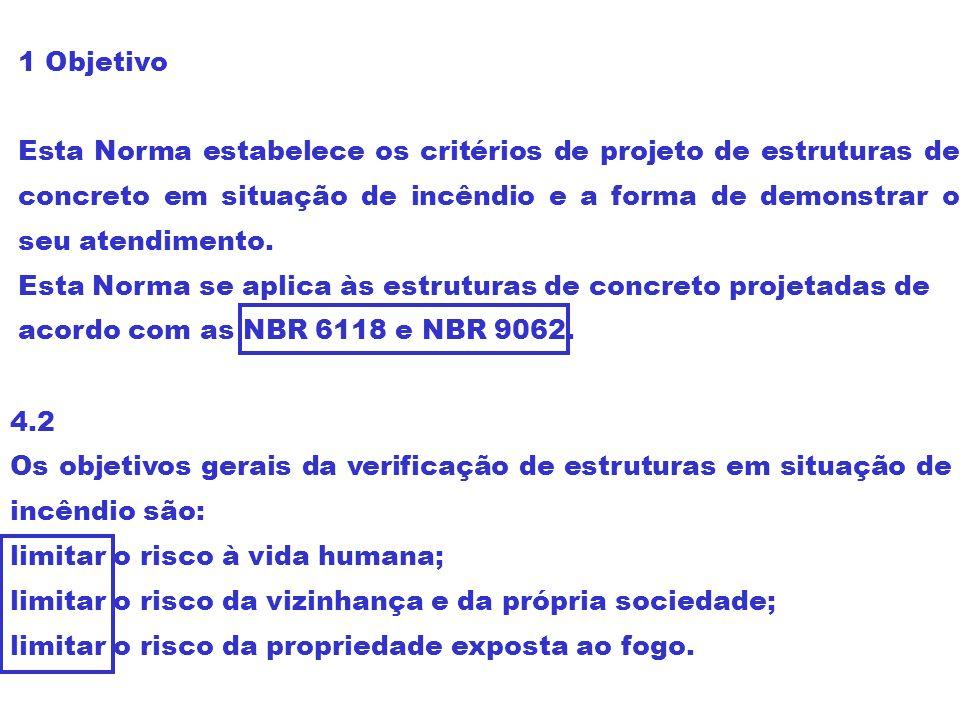 1 Objetivo Esta Norma estabelece os critérios de projeto de estruturas de concreto em situação de incêndio e a forma de demonstrar o seu atendimento.