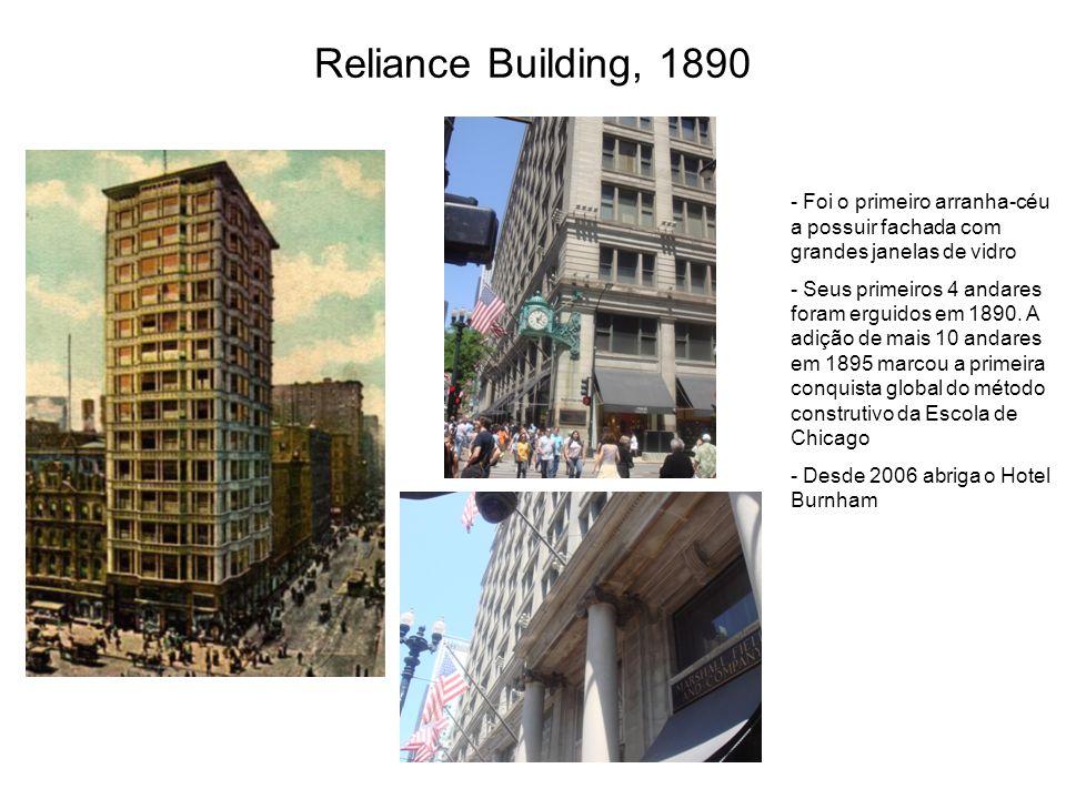 Reliance Building, 1890 Foi o primeiro arranha-céu a possuir fachada com grandes janelas de vidro.