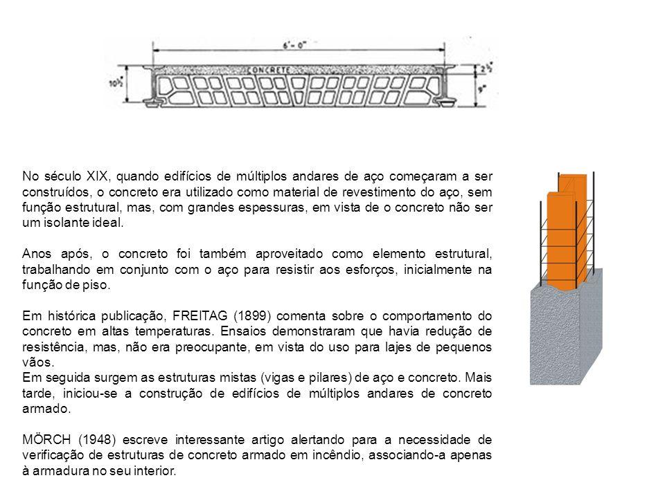 No século XIX, quando edifícios de múltiplos andares de aço começaram a ser construídos, o concreto era utilizado como material de revestimento do aço, sem função estrutural, mas, com grandes espessuras, em vista de o concreto não ser um isolante ideal.