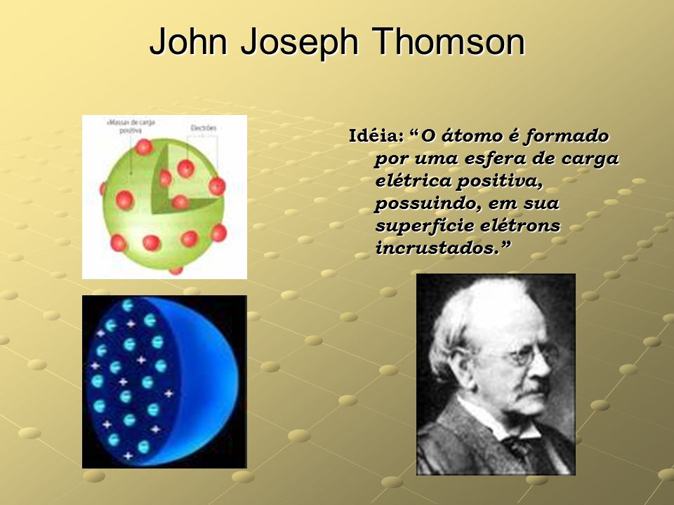 John Joseph Thomson Idéia: O átomo é formado por uma esfera de carga elétrica positiva, possuindo, em sua superfície elétrons incrustados.