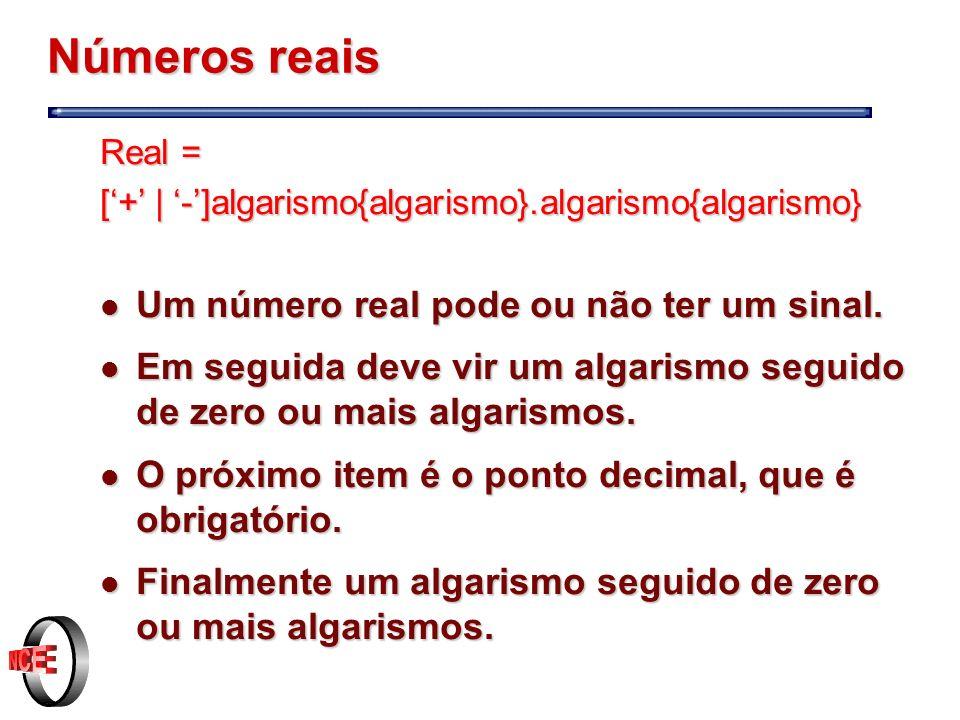 Números reais Um número real pode ou não ter um sinal.