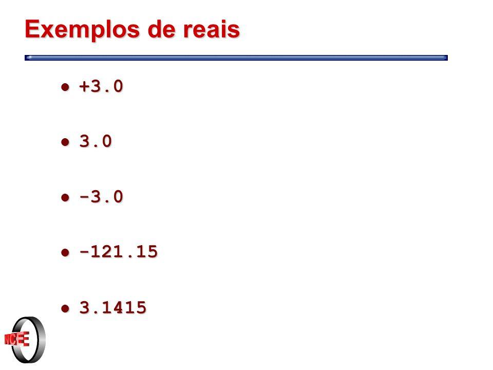 Exemplos de reais +3.0 3.0 -3.0 -121.15 3.1415