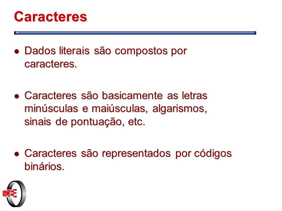 Caracteres Dados literais são compostos por caracteres.