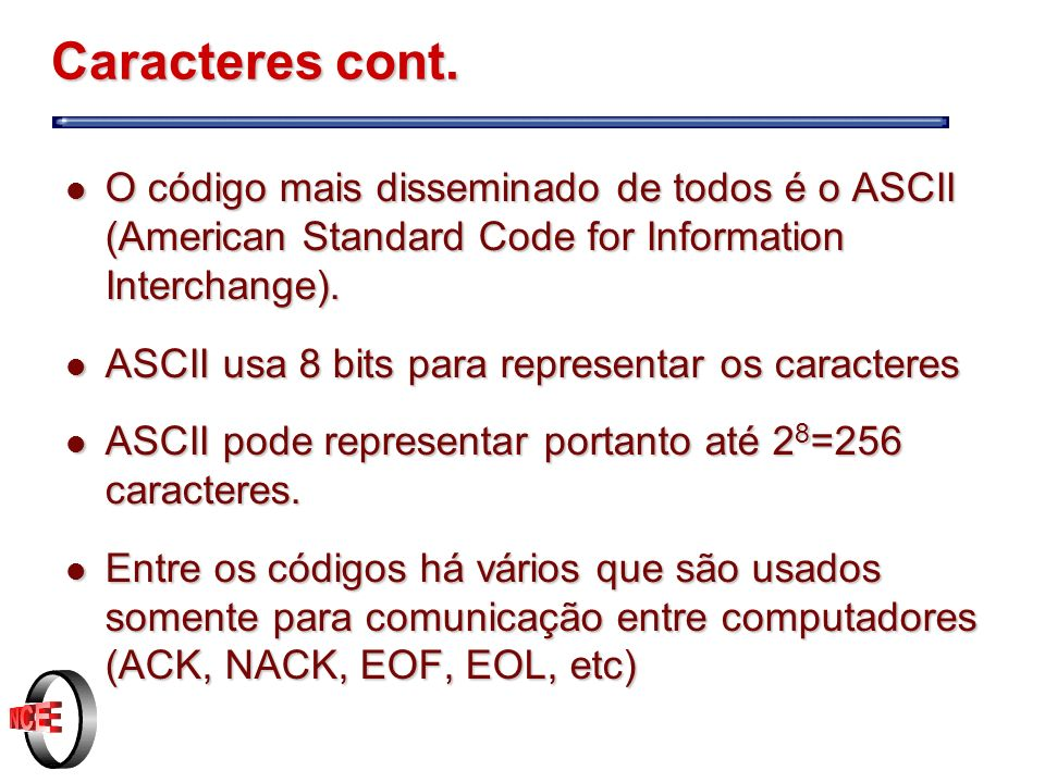 Caracteres cont. O código mais disseminado de todos é o ASCII (American Standard Code for Information Interchange).