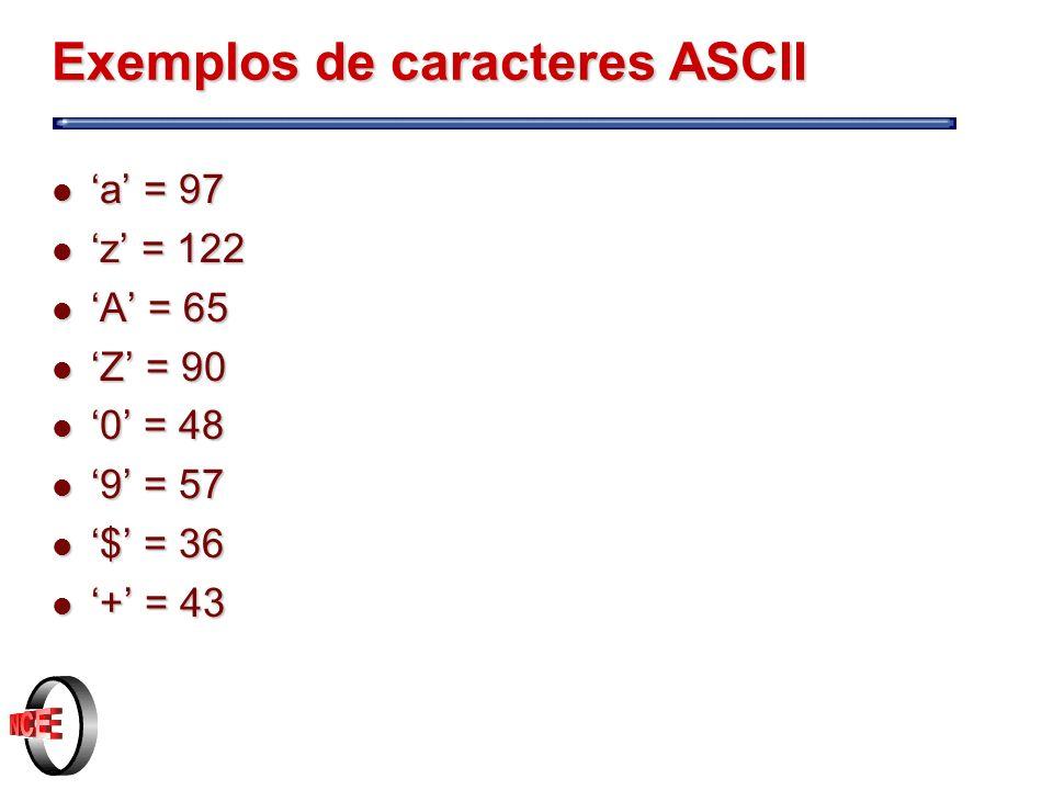 Exemplos de caracteres ASCII