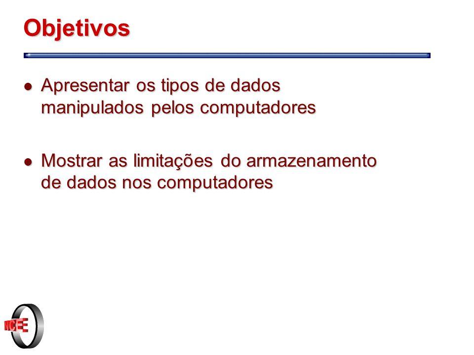 Objetivos Apresentar os tipos de dados manipulados pelos computadores