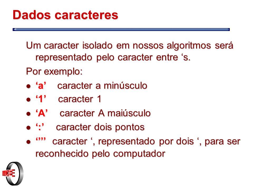 Dados caracteres Um caracter isolado em nossos algoritmos será representado pelo caracter entre 's.