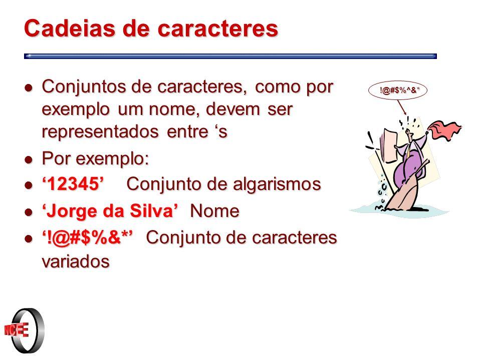 Cadeias de caracteres Conjuntos de caracteres, como por exemplo um nome, devem ser representados entre 's.