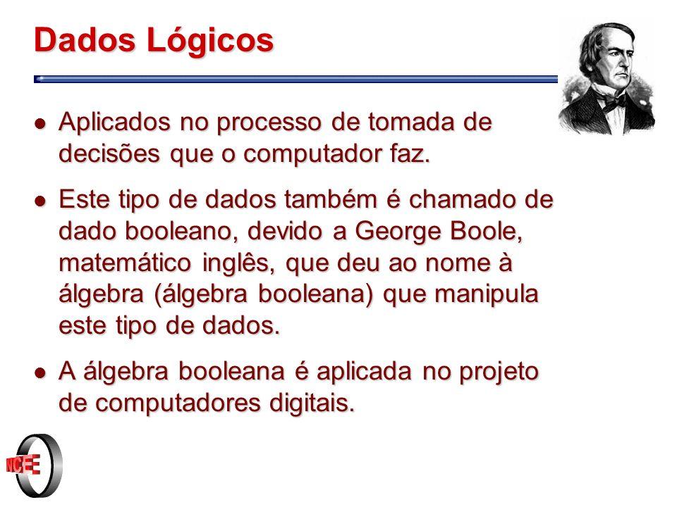 Dados Lógicos Aplicados no processo de tomada de decisões que o computador faz.