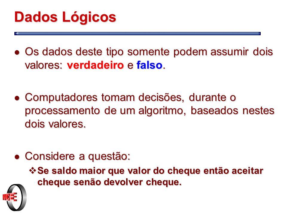 Dados Lógicos Os dados deste tipo somente podem assumir dois valores: verdadeiro e falso.