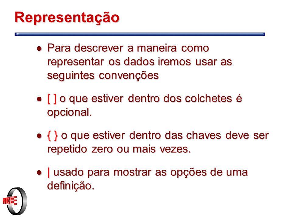Representação Para descrever a maneira como representar os dados iremos usar as seguintes convenções.
