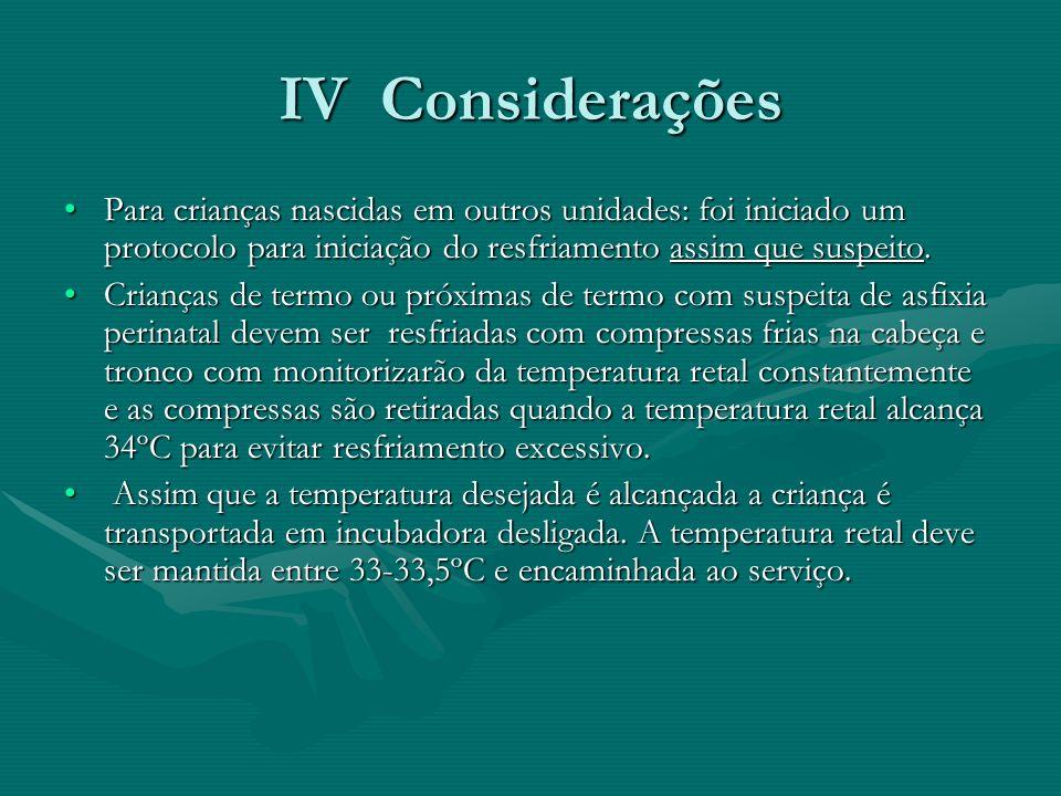 IV Considerações Para crianças nascidas em outros unidades: foi iniciado um protocolo para iniciação do resfriamento assim que suspeito.