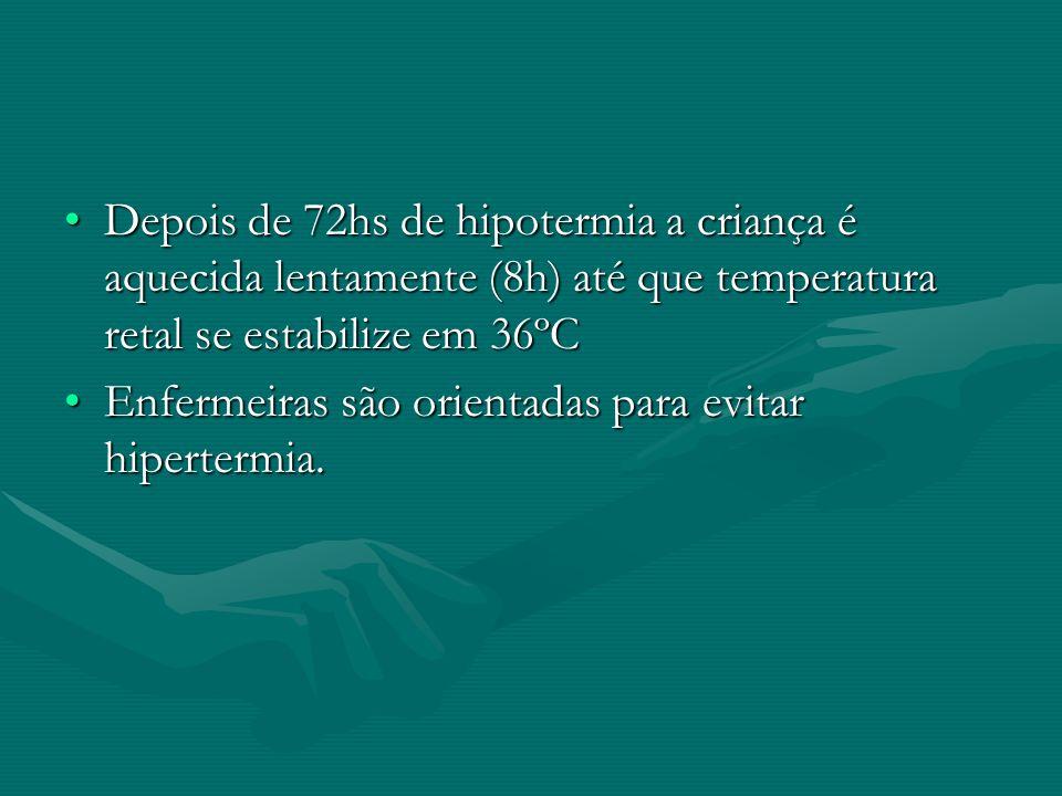 Depois de 72hs de hipotermia a criança é aquecida lentamente (8h) até que temperatura retal se estabilize em 36ºC