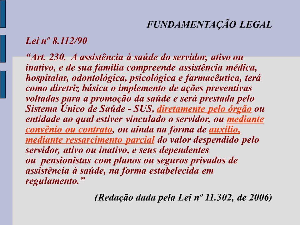 FUNDAMENTAÇÃO LEGAL Lei nº 8.112/90.