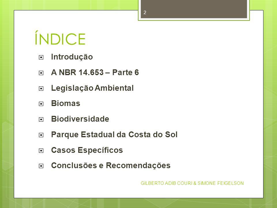 ÍNDICE Introdução A NBR 14.653 – Parte 6 Legislação Ambiental Biomas