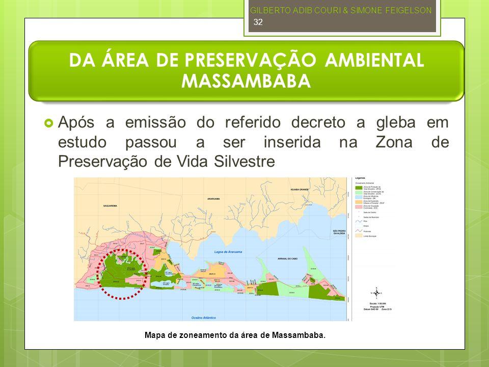 DA ÁREA DE PRESERVAÇÃO AMBIENTAL MASSAMBABA