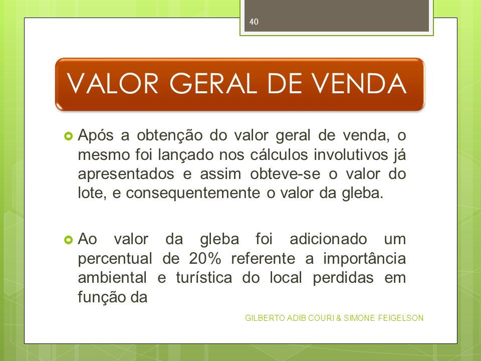 VALOR GERAL DE VENDA