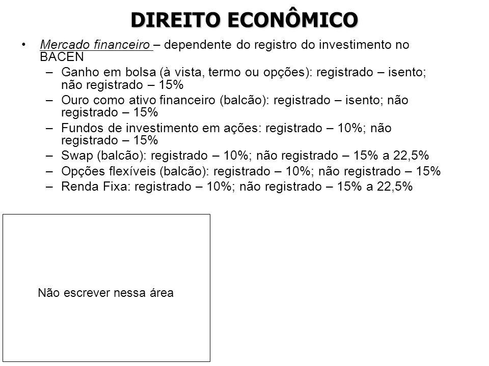 DIREITO ECONÔMICO Mercado financeiro – dependente do registro do investimento no BACEN.