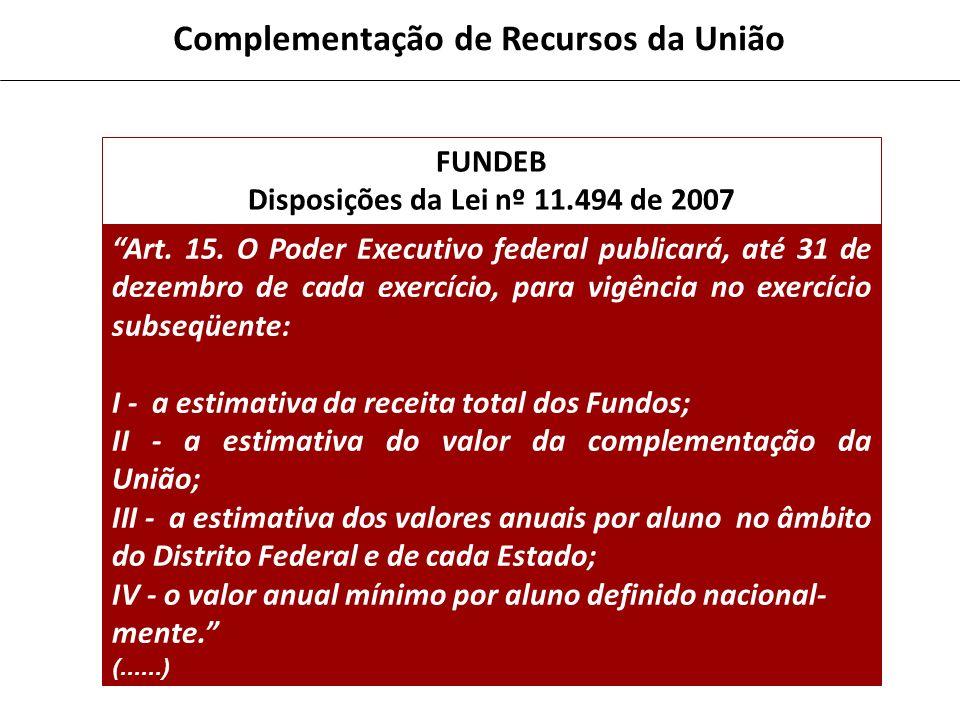 Disposições da Lei nº 11.494 de 2007