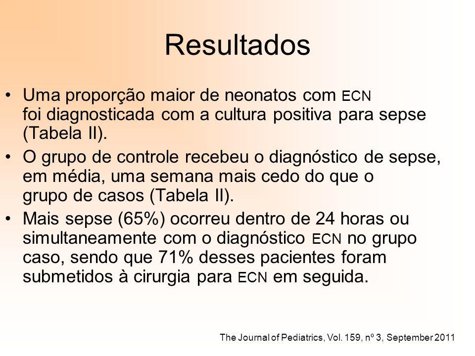 Resultados Uma proporção maior de neonatos com ECN foi diagnosticada com a cultura positiva para sepse (Tabela II).