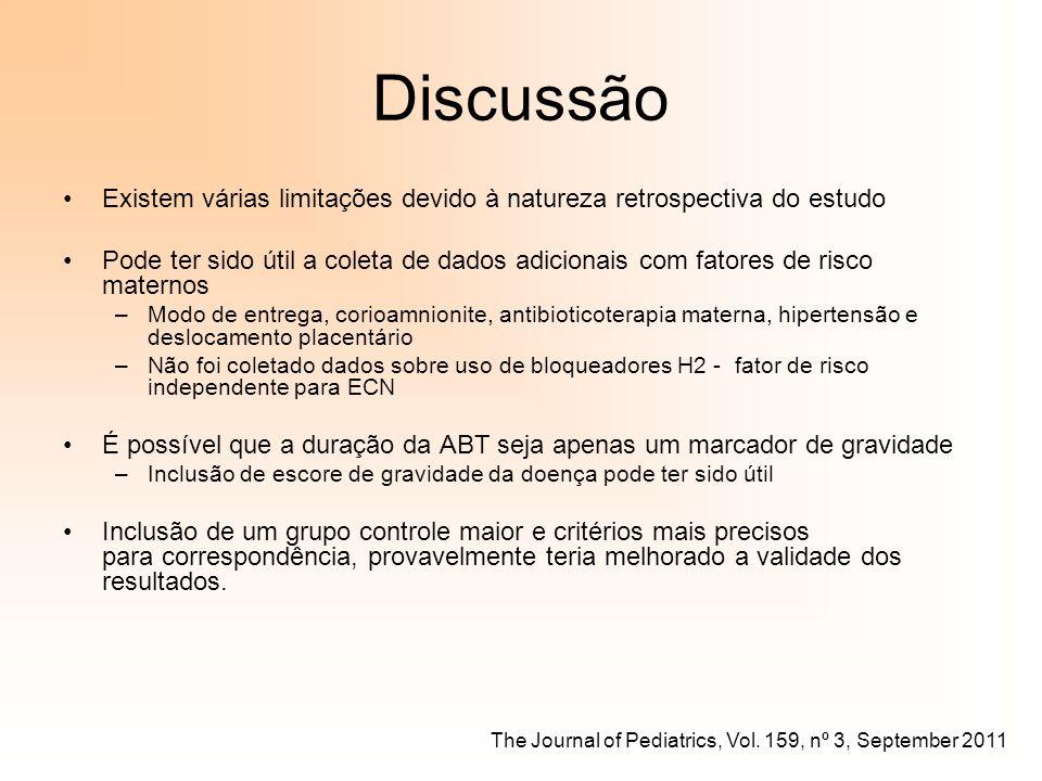 Discussão Existem várias limitações devido à natureza retrospectiva do estudo.