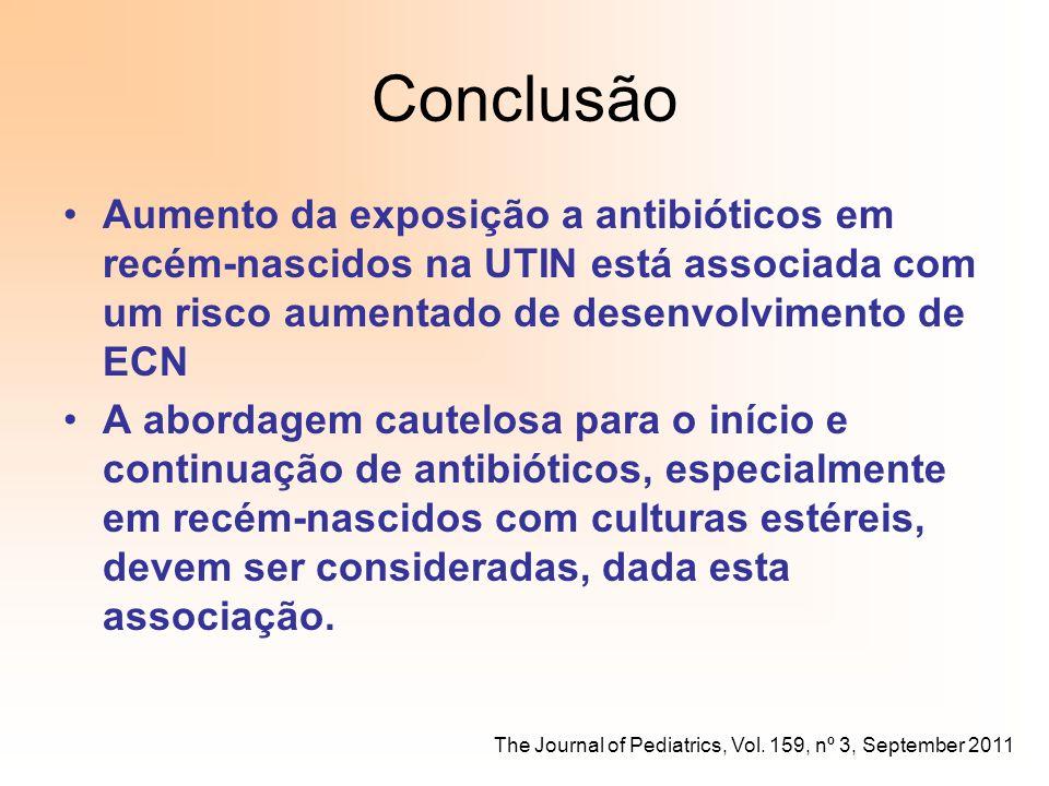 Conclusão Aumento da exposição a antibióticos em recém-nascidos na UTIN está associada com um risco aumentado de desenvolvimento de ECN.