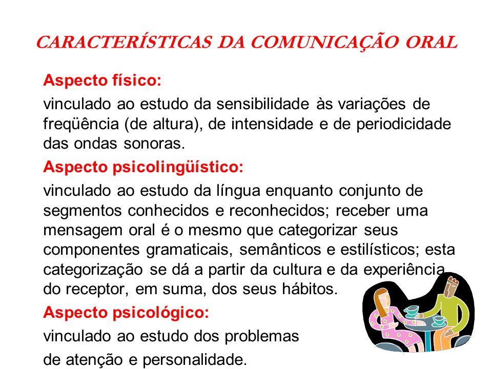CARACTERÍSTICAS DA COMUNICAÇÃO ORAL