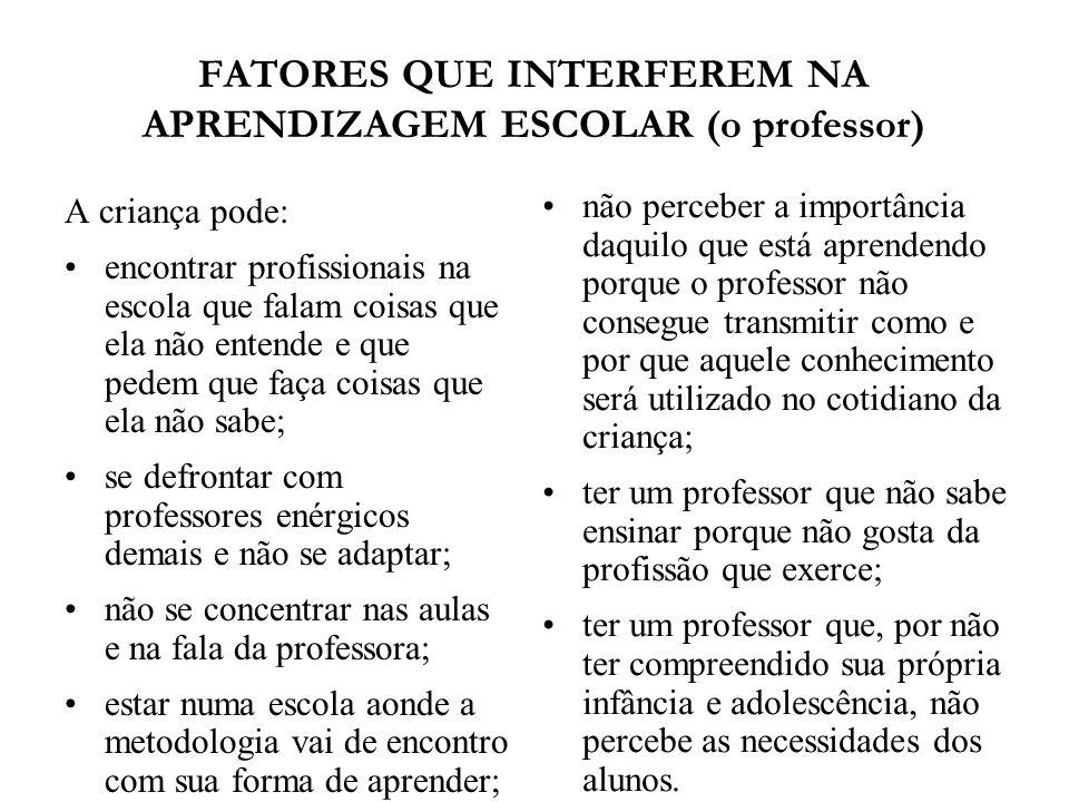 FATORES QUE INTERFEREM NA APRENDIZAGEM ESCOLAR (o professor)