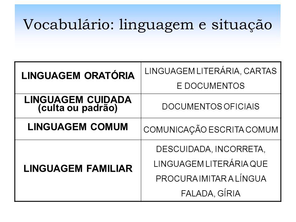 Vocabulário: linguagem e situação