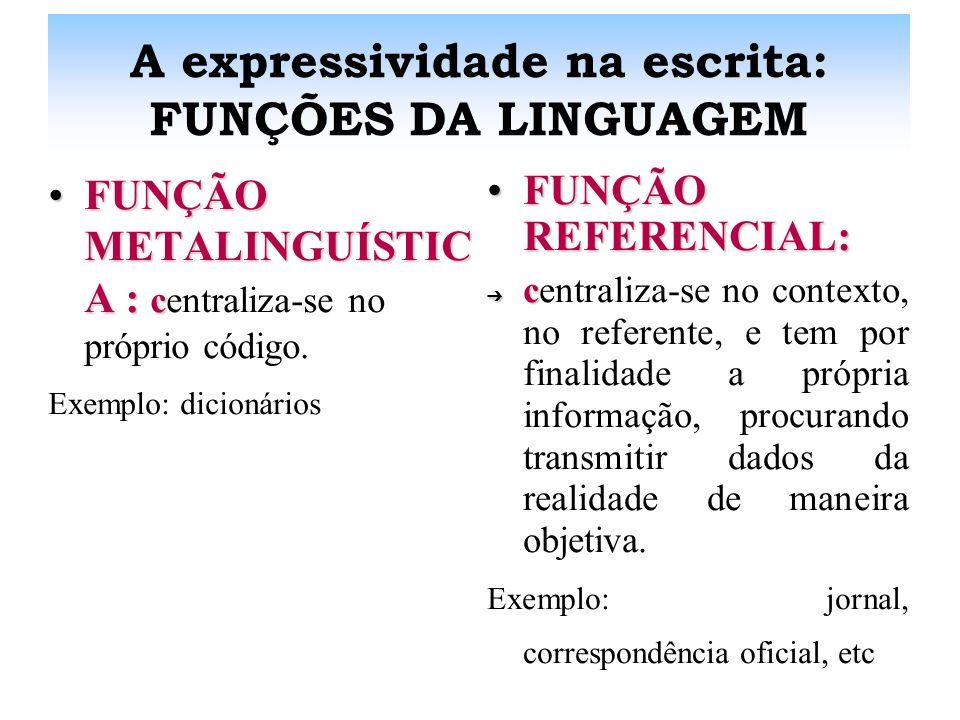 A expressividade na escrita: FUNÇÕES DA LINGUAGEM