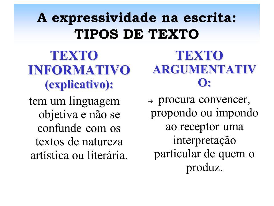 A expressividade na escrita: TIPOS DE TEXTO