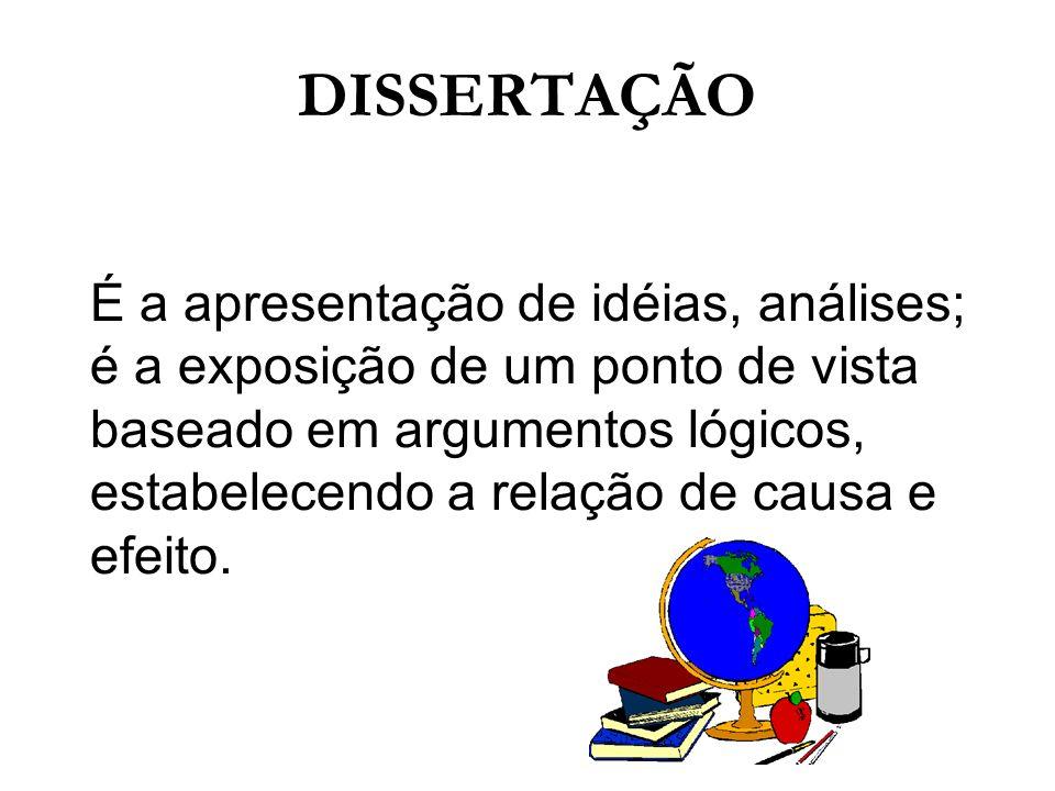 DISSERTAÇÃO É a apresentação de idéias, análises;