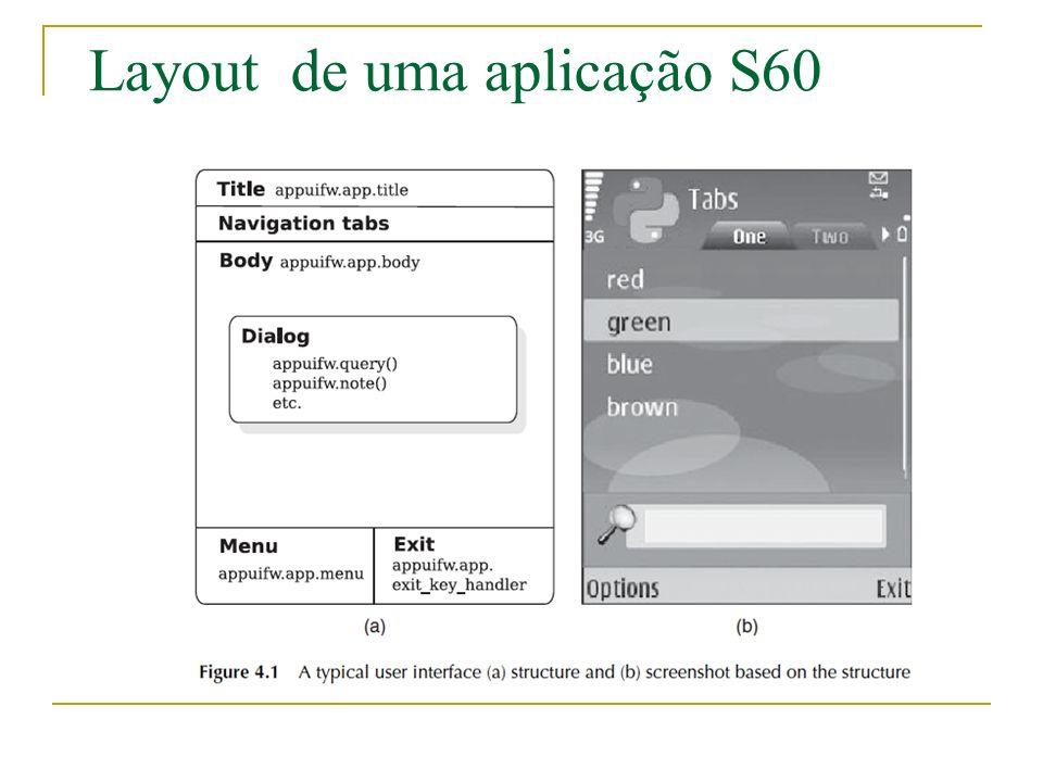 Layout de uma aplicação S60