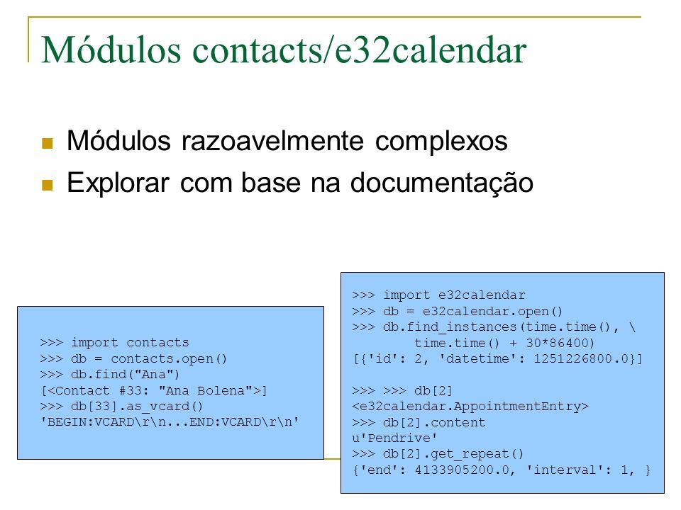 Módulos contacts/e32calendar