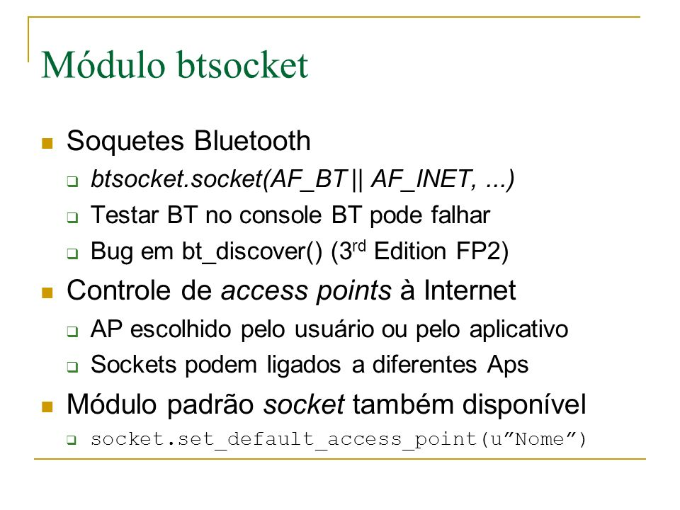Módulo btsocket Soquetes Bluetooth