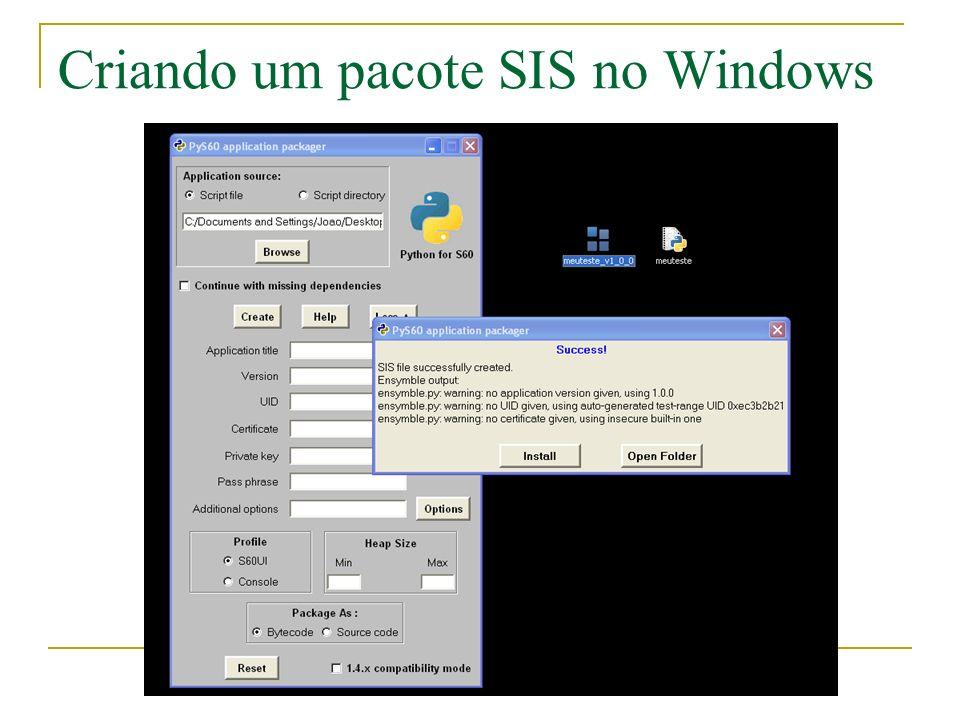 Criando um pacote SIS no Windows