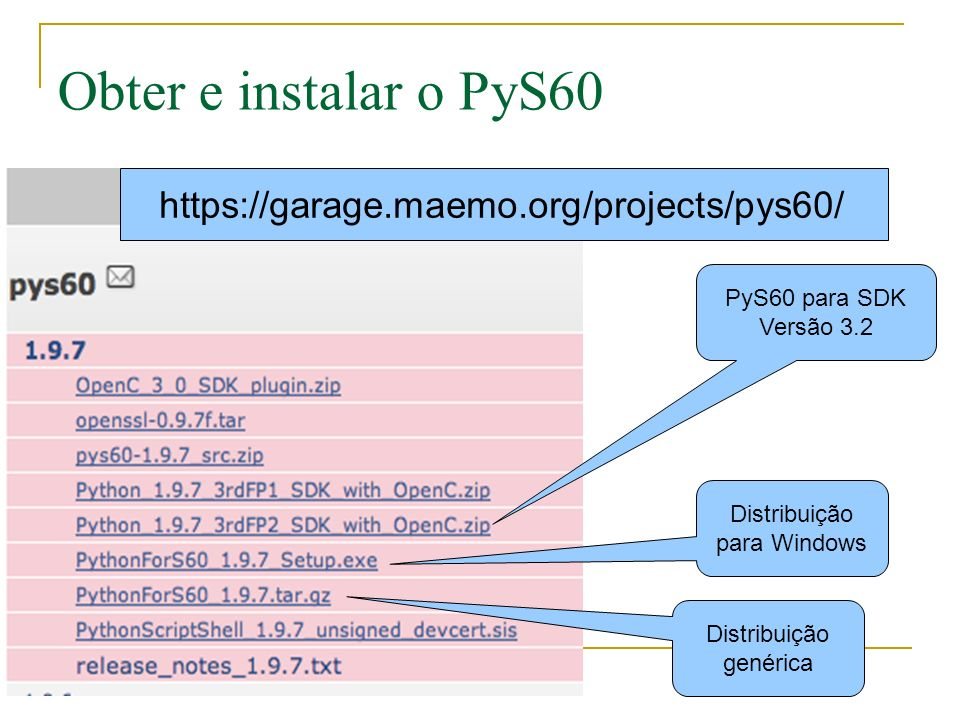Obter e instalar o PyS60 https://garage.maemo.org/projects/pys60/