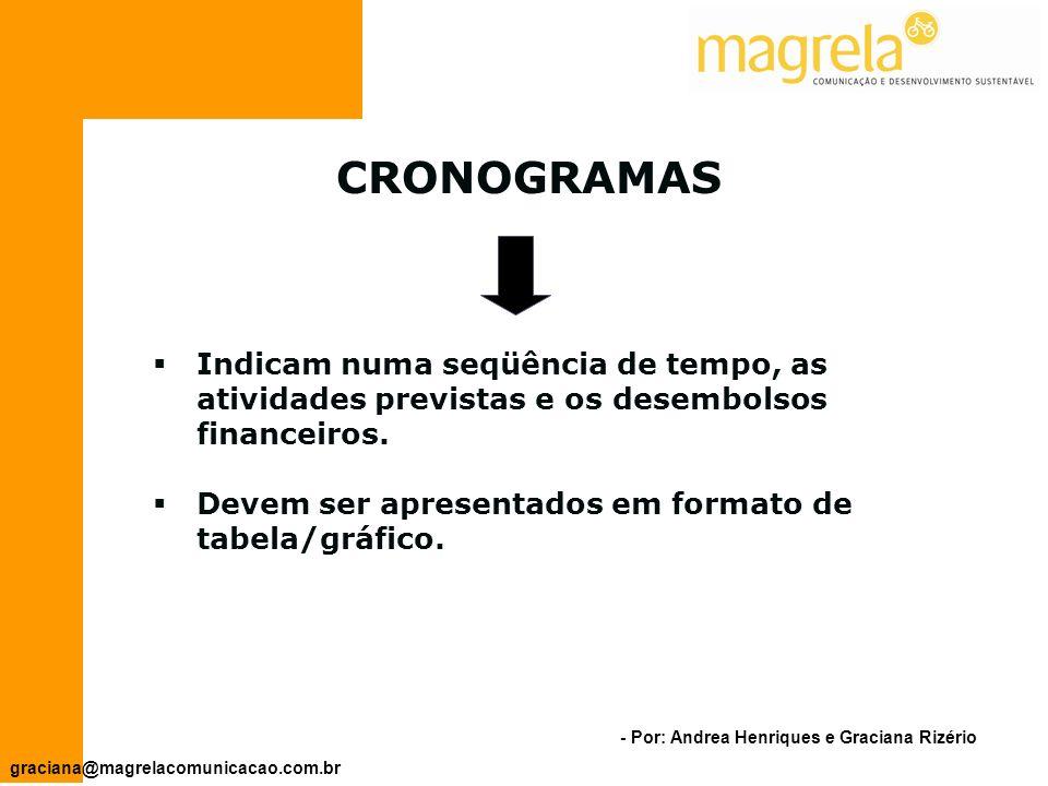 CRONOGRAMAS Indicam numa seqüência de tempo, as atividades previstas e os desembolsos financeiros.