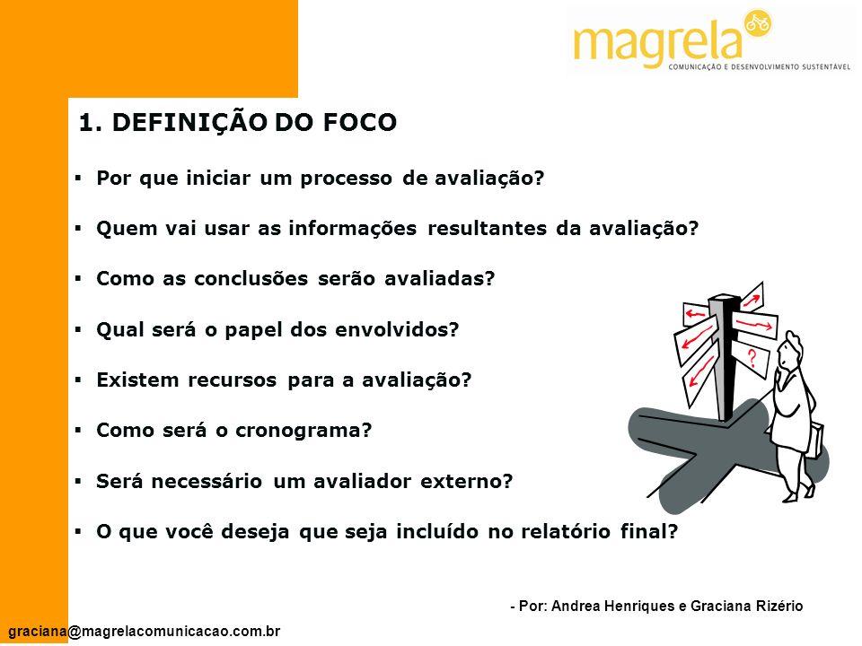 1. DEFINIÇÃO DO FOCO Por que iniciar um processo de avaliação