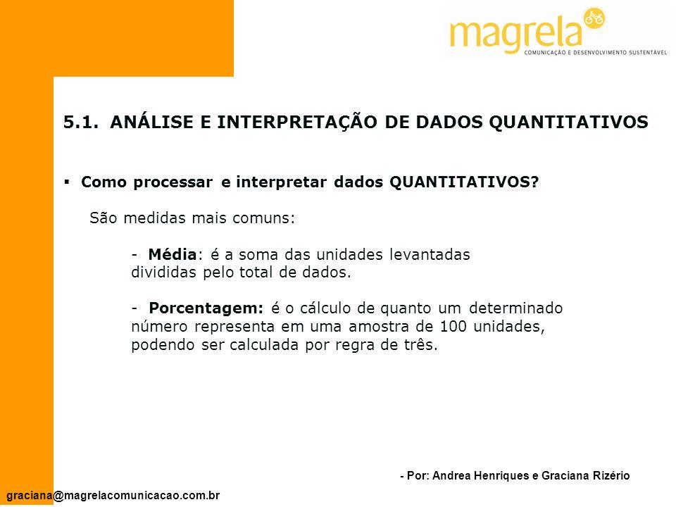5.1. ANÁLISE E INTERPRETAÇÃO DE DADOS QUANTITATIVOS