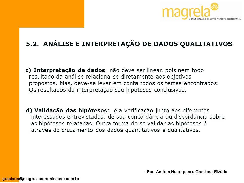 5.2. ANÁLISE E INTERPRETAÇÃO DE DADOS QUALITATIVOS