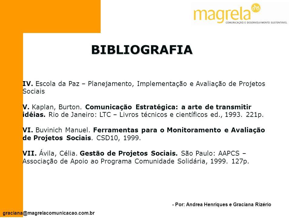 BIBLIOGRAFIA IV. Escola da Paz – Planejamento, Implementação e Avaliação de Projetos Sociais.