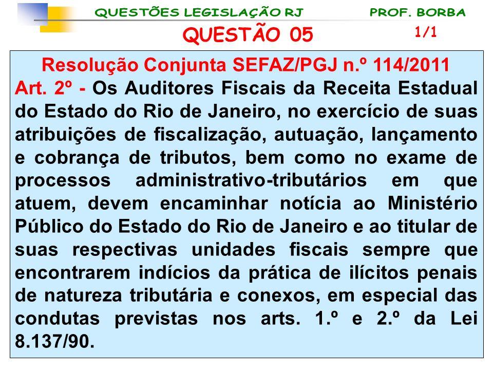 Resolução Conjunta SEFAZ/PGJ n.º 114/2011