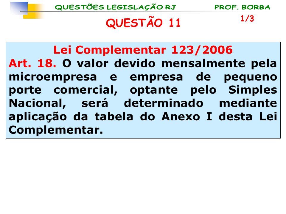 QUESTÃO 11 Lei Complementar 123/2006