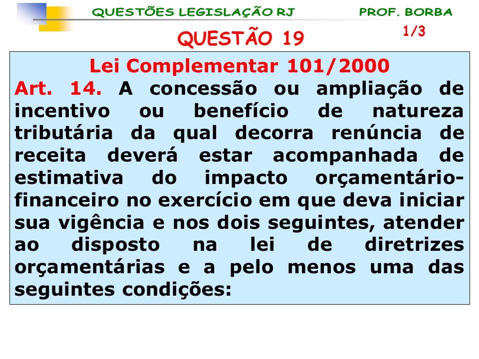 QUESTÃO 19 Lei Complementar 101/2000