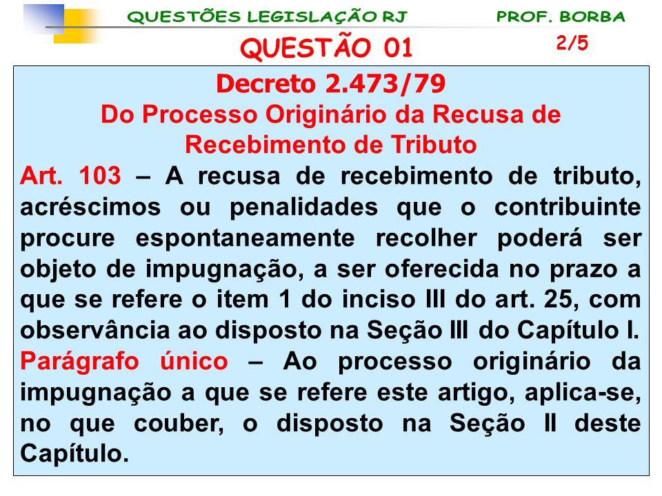 Do Processo Originário da Recusa de Recebimento de Tributo